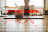Cryptocurrency crisis on virtual screen. Bitcoin and Ethereum falls. - 219900193