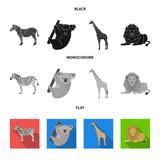 African zebra, animal koala, giraffe, wild predator, lion. Wild animals set collection icons in black, flat, monochrome style vector symbol stock illustration web.
