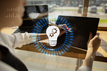Lamp icon on virtual screen. Business solution. Innovation concept.