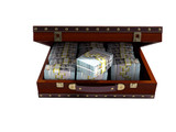 Brown open suitcase with tree with bundles of money front view 3d render on white background no shadow - 219913506