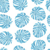 Blue monstera leaf on white background. Summer tropical pattern. Fashion print for textiles. - 219917177