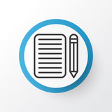 Essay writing icon symbol. Premium quality isolated home work element in trendy style. - 219917709