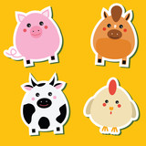 Cute kawaii farm animals stickers set. Vector illustration. Pig, horse, cow, hen