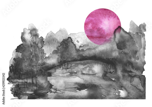 watercolor-banner-logo-postcard-black-silhouette-of-the-forest-pine-spruce-birch-poplar-maple-watercolor-landscape-black-splash-of-paint-abstract-spots-beautiful-drawing-red-pink-sun