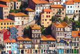 Typical houses in Porto located on a cliff, view from Vila Nova de Gaia, Porto, Portugal. - 219933567