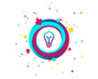 Light lamp sign icon. Idea symbol. Colorful button with icon. Geometric elements. Vector