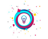 Light lamp sign icon. Idea symbol. Colorful button with icon. Geometric elements. Vector - 219937786