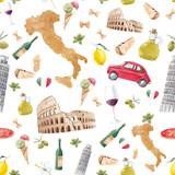Watercolor italian pattern - 219948539