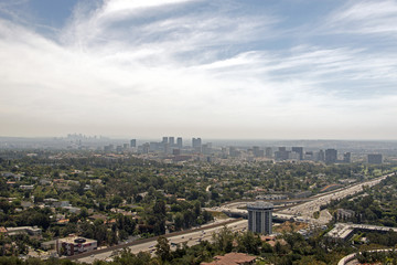 A view of Los Angeles cityscape from Getty museum in summer time © CoolimagesCo