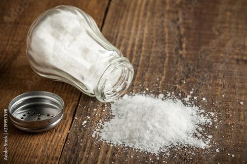Salt on wooden table