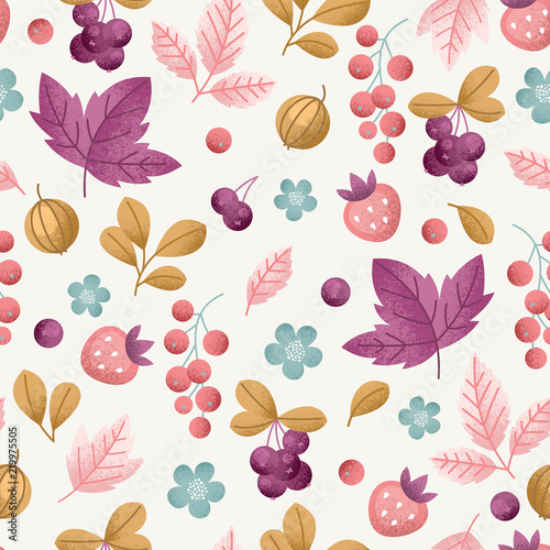 Wild berry seamless pattern. Fun berries fabric background. Vector illustration - 219975505