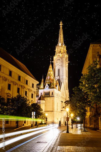 St. Matthias Church in Budapest at night
