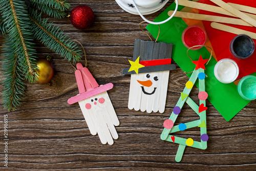 Christmas Decoration Or Christmas Gift Wooden Sticks Snowman Fir