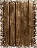 Wooden brown christmas background with snowflakes and stars, vector illustration - 220006154
