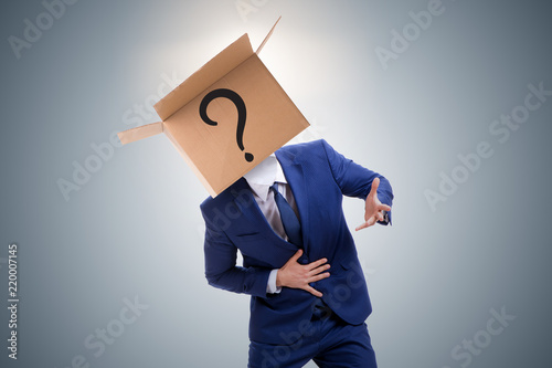 Businessman asking questions in business concept