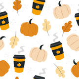 Autumn seamless pattern with cups and pumpkins. Vector hand drawn illustration. - 220013706