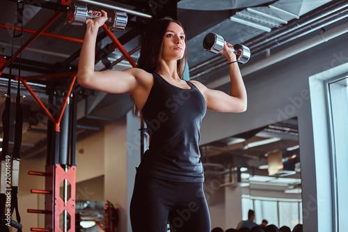 Blondynki sportive kobieta w sportswear robi ćwiczeniu na ramionach z dumbbells w sprawności fizycznej klubie lub gym.