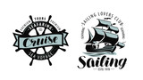 Sailing, cruise logo or label. Marine themes. Vector - 220026542