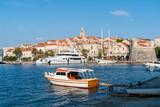 Marina of Korcula city - Korcula island, Croatia. Korcula island lies just off the Dalmatian coast. - 220026587