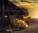 Fall in backyard with leaves falling from trees and pumpkins, autumn background 3D Rendering