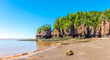 During the low tide of Bay of Funda, beautiful rock formations are revealed - Canada