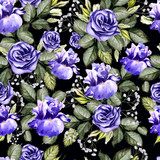 Bright watercolor flowers seamless pattern with iris and anemones. - 220064959