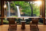 Cafe bar and waterfall view. - 220069346