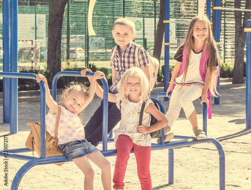 Leinwanddruck Bild Pupils spending time at school playground