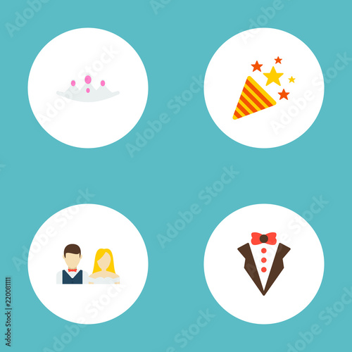 set of marriage icons flat style symbols with firework crown just