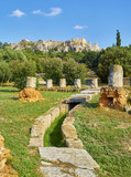 Ruins of Middle Stoa at the ancient Agora of Athens with the north slope of the Athenian Acropolis in background. Attica region, Greece. - 220082309