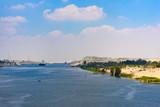 Cargo ship passing Suez Canal, Egypt - 220082928