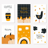 Set of cute autumn cards with lettering. Vector hand drawn illustration. - 220088165