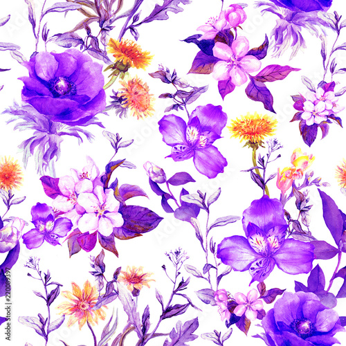 kwiaty-letnie-trawy-lakowe-ziola-wiosenne-bezszwowe-tlo-naturalne-akwarela-w-kolorze-ultra-fioletowym