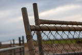 Multiple temporary fence panels leaning against each other on a new building site in South Australia on 29th August 2018 - 220090304