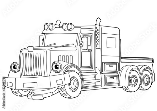 cartoon scene with vector tow truck on white background - with coloring page - illustration for children - 220091781