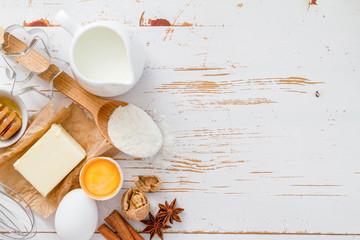 Ingredients for baking - milk, butter, eggs, flour, wheat © anaumenko