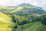 Landschaft mit Bergen Tälern und Wald an einem sonnigen Tag in Bayern - 220100775