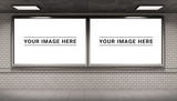 Two billboards frames in underground tube station mockup 3D rendering - 220111965