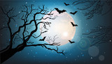 Tree branches silhouette and bats flying at night Vector. Full moon. Halloween concepts - 220116378