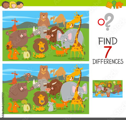 differences puzzle game with animal characters