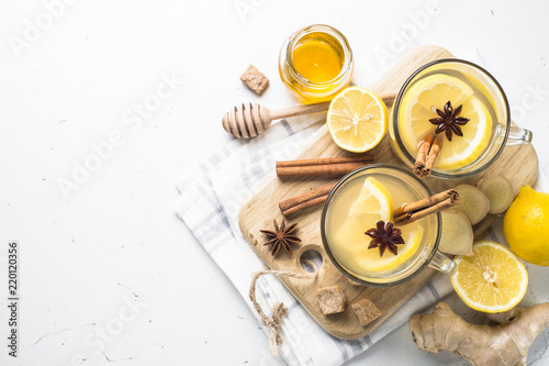 Hot Ginger tea with lemon, honey and spices.