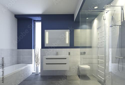 Sticker Bad mit blauer Wand