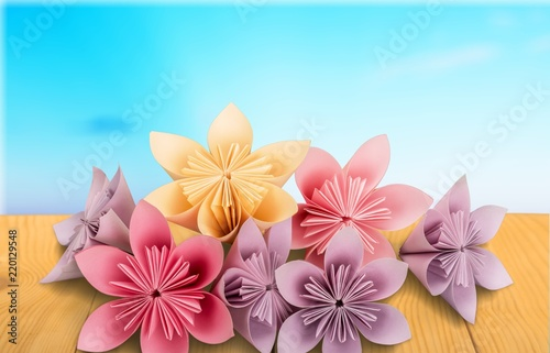 Origami flowers on white background buy photos ap images origami flowers on white background mightylinksfo