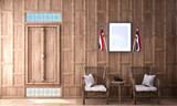historical period drama scene interior design in Thai style with wooden cap wall pattern and Thai triangle pillow on wooden floor ,3d illustration - 220130106