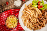 Greek gyros dis with fries and salad - 220143761