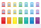 Colorful doors and windows. Rainbow colored house front, happy neighbors. Isolated vector illustration on white background. - 220147766