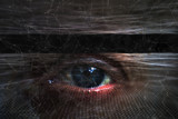 Abstract blurry human eye on futuristic computer cyberspace network background. - 220148509