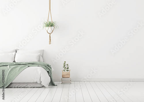 Home Bedroom Interior Mockup With Bed Green Plaid Pillows And