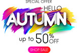 Autumn sale special offer. Promo poster with brush stroke design. - 220150583