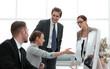 Leinwanddruck Bild - business team is discussing new information